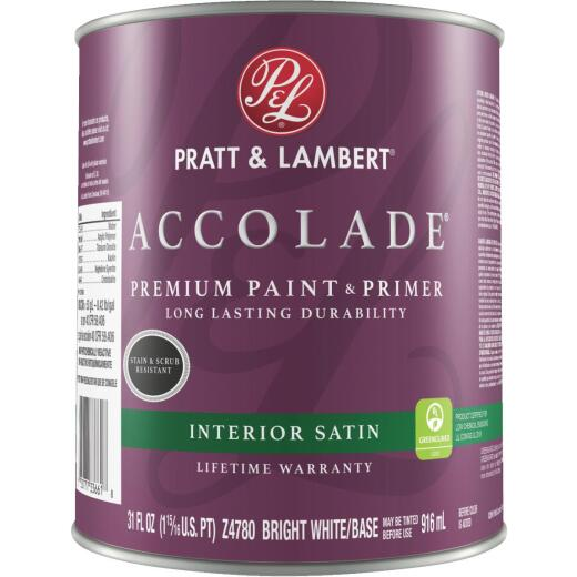 Pratt & Lambert Accolade Premium 100% Acrylic Paint & Primer Satin Interior Wall Paint, Bright White Base, 1 Qt.