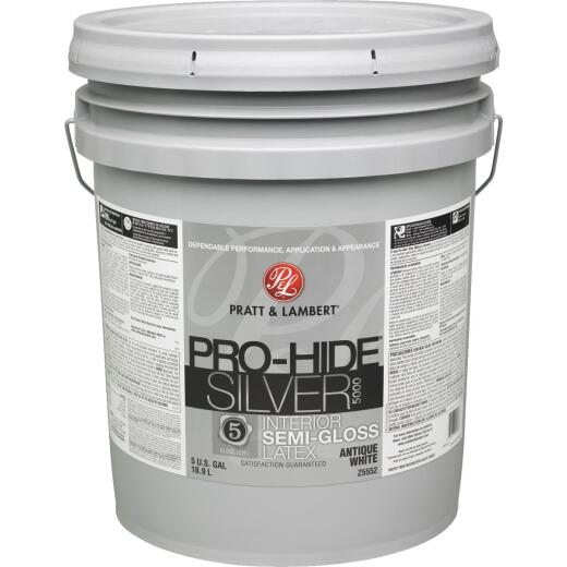 Pratt & Lambert Pro-Hide Silver 5000 Latex Semi-Gloss Interior Wall Paint, Antique White, 5 Gal.